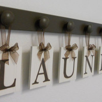 Laundry Room Wall Decor Personalized Hanging Letters includes 7 Wooden Peg Hangers and Letters LAUNDRY in Chocolate Brown