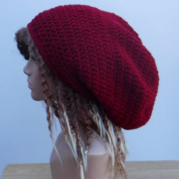 Dark red Slouchy large Tam Dreadlock Hippie Beanie Dread Hat
