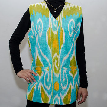 women's ikat jacket, low SALE price, turquoise, green, ikat, jacket, dress, garment, wear, apparel, clothes, clothing from SilkWay