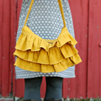 Ruffle Bag, Hobo bag, Mustard Yellow, Zipper Closure, Linen Ruffle Bag, Handmade Ruffled Purse , Ruffled Hobo Bag, Medium purse