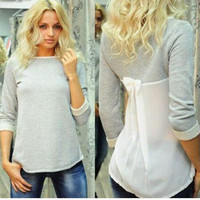 New Women Lady Casual Loose Fashion Fashion Sweet Sexy Casual Vogue Slim Fit Bowknot O Neck Top Blouse Tee Shirt