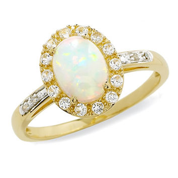 Oval Lab-Created Opal and White Sapphire Ring in 10K Gold with Diamond Accents