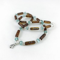 Turquoise crystals and brown Czech beads, fashion accessories, fashion necklace, brown jewelry, simple style, turquoise color, glass bead