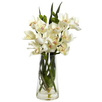 Silk Flowers -Cymbidium Orchid With Vase Artificial Plant