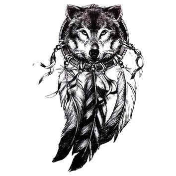 3D Wolf Head Black Tattoo Sticker Women Men 3D Body Art Wolf Dreamcatcher Indian Feather Flower Arm Temporary Tattoo Sticker Z3