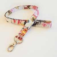 Valentine Lanyard / Valentine's Day Keychain / Lace Print / Key Lanyard / Roses / ID Badge Holder / Eiffel Tower / Pretty Lanyard