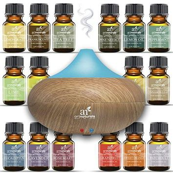 Art Naturals Essential Oil Diffuser 100ml & Top 16 Essential Oil Set - Peppermint, Tee Tree, Rosemary, Orange, Lemongrass, Lavender, Eucalyptus, & Frankincense - Auto...