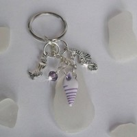 Sea Glass Keychain with Shell