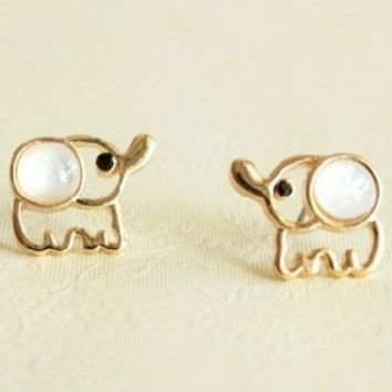 Cute Beige Opal Elephant Stud Earrings = 1645816260