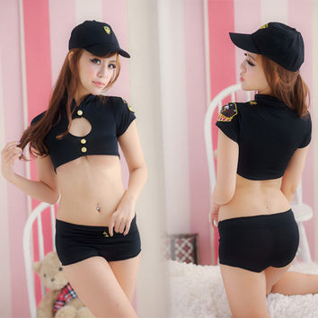 AFUMAN Sexy lingerie black uniforms policewoman clothing Cosplay role-playing game costume temptation nightclub show underwer