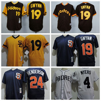 Throwback San Diego Padres 19 Tony Gwynn Baseball Jersey 24 Rickey Henderson 31 Dave Winfield Mesh 4 Wil Myers 27 Matt Kemp Cool Base Shirts