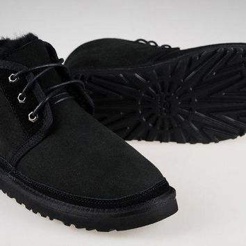 LFMON UGG 3236 Suede Men Fashion Casual Wool Winter Snow Boots Black