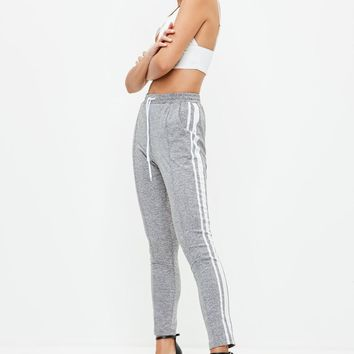 Missguided - Gray Double Side Stripe Joggers