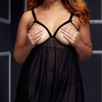 Plus Size Sheer Open Cup Babydoll and Panty