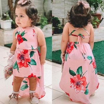 Pink Floral High Low Backless Dress