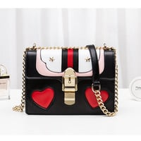 Luxury Women Messenger Flap Bag Fashion Heart Shaped Lock Handbags Chain Shoulder Bags