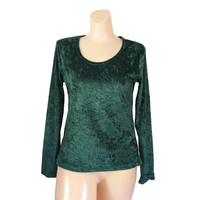 Crushed Velvet Top Green Velvet Shirt 90s Grunge Shirt Crushed Velvet Shirt Green Christmas Shirt Long Sleeve Shirt 1990s Shirt 90s Clothing