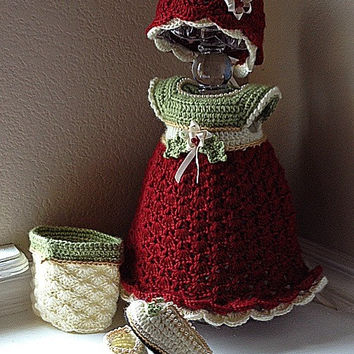 A Vintage Christmas crochet dress baby newborn welcome home homecoming holiday traditional handmade unique ooak holly berries