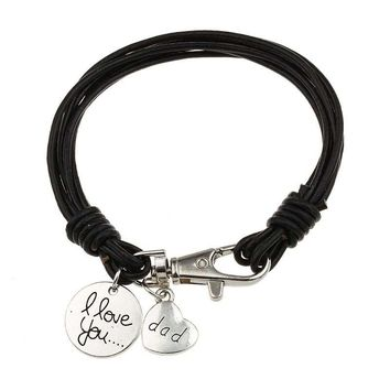 I Love You Dad Charm Bracelet
