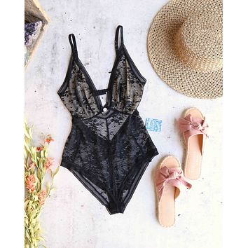 free people - no trace bodysuit - black