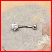 14k White Gold Ring 14g Navel Ring Prong Set CZ Solid Gold Belly Button Ring Navel Piercing Belly Button Piercing Navel Jewelry Belly Bling