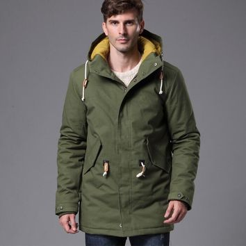 2017 Men Winter Thick Warm Long Cotton Jacket Coats Male Parka Casual Hooded Windproof Cold Overcoat Army Green Aviator Outwear