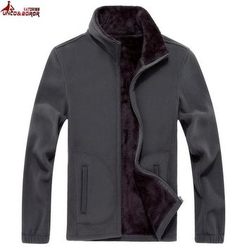 Trendy UNCO&BOROR Mens Softshell Fleece Casual Jackets Men Warm Sweatshirt Thermal Coats fleece Tactical bomber jacket size XL~8XL AT_94_13