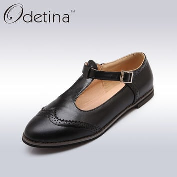 Odetina Classic Black Oxford Brogue Shoes Women British Style Ladies Mary Jane School Shoes 2017 Summer Women Flat Casual Shoes