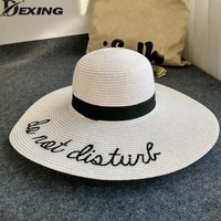 [Dexing] sun hat anti-uv summer hats for women wide brim straw beach hat floppy foldable Visor letters  ladies vacation hat