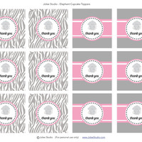 Elephant Baby Shower or Birthday Party Favor Tags: INSTANT DOWNLOAD