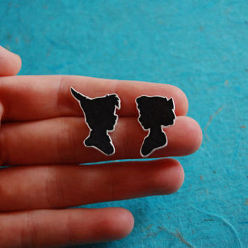 Peter Pan and Wendy (Vintage Silhouette Cameo Style) Earrings