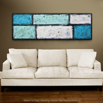 Large Abstract Painting 20 x 60 original modern minimalism textured painting blue acrylic painting abstract schilderij