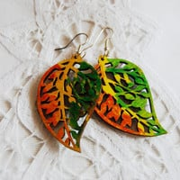 happy autumn leaves Colours painted earrings hand made