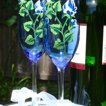 Painted Champagne Flute With Blue Roses