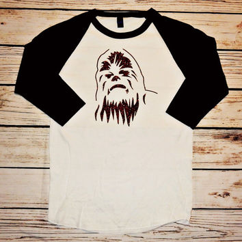 Brown glitter Chewbacca Star Wars shirt - baseball style shirt - 3/4 sleeve