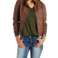 Brown Faux Leather Bomber Jacket by Charlotte Russe