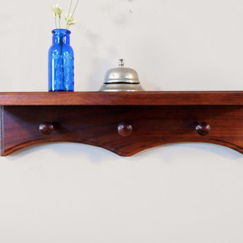 Wall Mounted Coat Rack Walnut Shelf