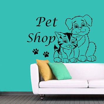 Dog Cat Wall Decal Pet Shop Grooming Salon Decor Comb Paws Vinyl Sticker MR594