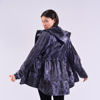 Raincoat Women Jacket with hood, Navy Purple Digital Snake Print, windbreaker jacket, women winter rain coat, Nylon Jacket, Limited Addition