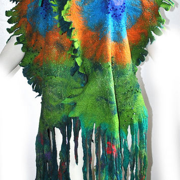 Peacok Felted SCARF Hand Made hand felted Merino Wool Nuno Felt Shawl/Wrap/Scarf  PEACOCK Hippie Boho Art Festival Perfect GIFT Idea Unique