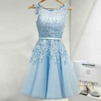Blue Appliqiues Chiffon Homecoming Dress