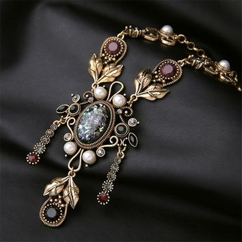 Statement Do Old Unique Hyperbole Royal Retro Gem Long Fringed Necklace For Women N492