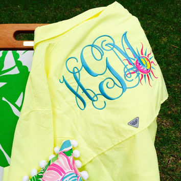 Monogrammed Fishing Shirt WIth Lilly Pulitzer Sun Applique