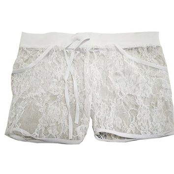 Hot Shorts Summer Women's Drawstring  Sexy Black Lace Sheer Floral Hollow Out Summer Elastic Party Travel  Panty 2017 P1AT_43_3