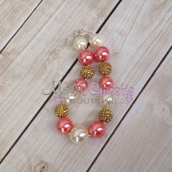 Stunning Coral, gold and Ivory chunky necklace, girls jewelry, wedding jewelry, children's necklace, bubblegum jewelry, bubblegum necklace