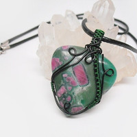 OOAK Wire wrapped ruby fuchsite necklace, green and pink wrapped pendant, black and dark green coated copper wrap, unique necklace for women