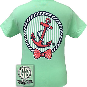 Girlie Girl Originals Collection Coral Anchor Bow Mint Green Bright T Shirt