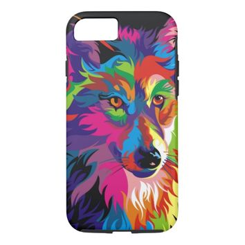 Colorful Wolf Painting Tough iPhone 7 Case