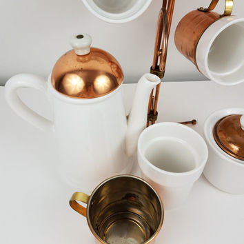 Copper Brass and Ceramic Mug Tea Set