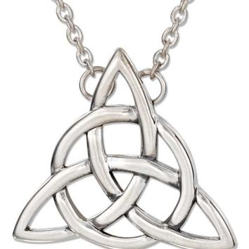 "Sterling Silver 18"" Celtic Trinity Knot Necklace With Cable Chain"
